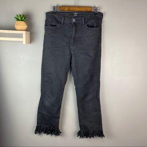 Just black frayed hem jeans size 31